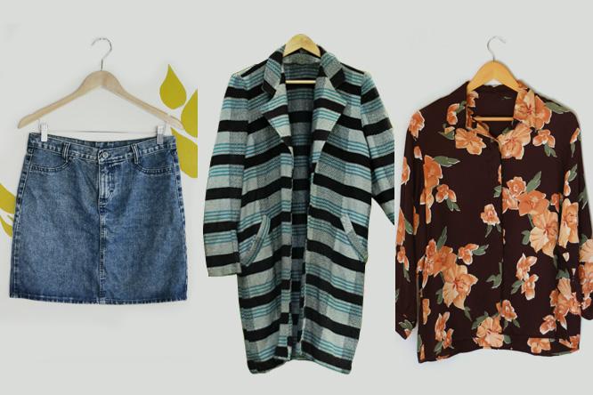 8ca75c73f90 Garimpos  Saia jeans vintage Memi por R  40  Trench coat tricot por R  55   Camisa Flor de Amábilis por R  35.